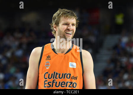 Madrid, Spain. 06th June, 2019. Aaron Doornekamp of Valencia seen during the semifinals of the Liga ACB match between Real Madrid and Valencia Basket at Wizink Center in Madrid. (Final Score: Real Madrid 94 -72 Valencia Basket) Credit: SOPA Images Limited/Alamy Live News - Stock Photo