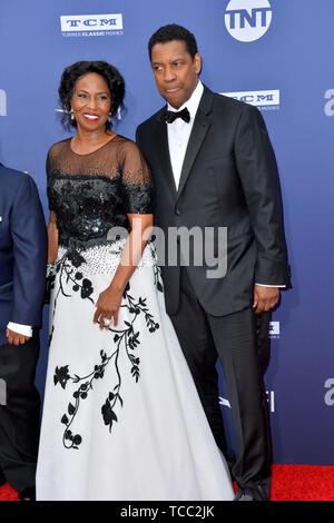 Los Angeles, USA. 6th June, 2019. LOS ANGELES, USA. : Denzel Washington & Pauletta Washington at the AFI Life Achievement Award Gala. Picture Credit: Paul Smith/Alamy Live News - Stock Photo