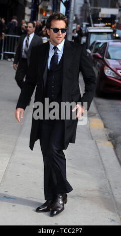 Manhattan, United States Of America. 16th Mar, 2011. NEW YORK, NY - MARCH 15: Actor Bradley Cooper enters the 'Late Show With David Letterman' at the Ed Sullivan Theater on March 15, 2011 in New York City People: Bradley Cooper Credit: Storms Media Group/Alamy Live News - Stock Photo