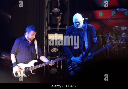 Prague, Czech Republic. 06th June, 2019. American band The Smashing Pumpkins performs in Prague, Czech Republic, on June 6, 2019. On the right side of the photo is seen guitarist and singer of the band Billy Corgan. Credit: Katerina Sulova/CTK Photo/Alamy Live News - Stock Photo