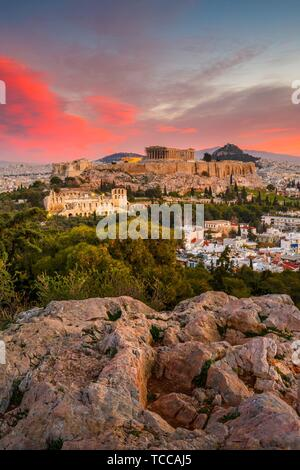 View of Acropolis from Filopappou hill at sunrise, Greece.. - Stock Photo