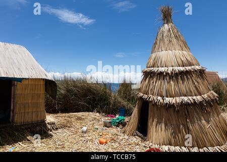 traditional tent on the Titicaca lake near Puno, Peru. - Stock Photo