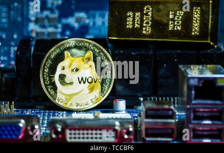 Front view of Dogecoin cryptocurrency and golden brick or block over computer video card. Bitcoin mining farm, working computer equipment concept. - Stock Photo