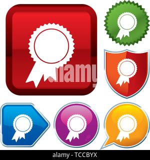 Vector illustration. Set shiny icon series on buttons. Award. - Stock Photo