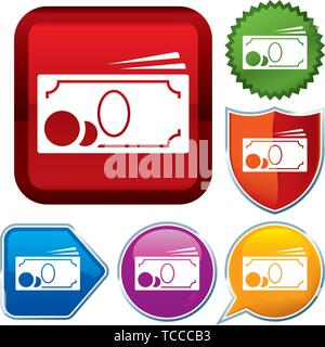 Vector illustration. Set shiny icon series on buttons. Cash. - Stock Photo