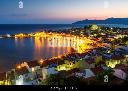 Picturesque Pythagorio town on Samos island, Greece.. - Stock Photo