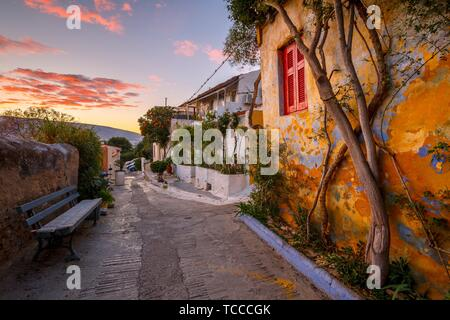 Anafiotika neighborhood in the old town of Athens, Greece.. - Stock Photo