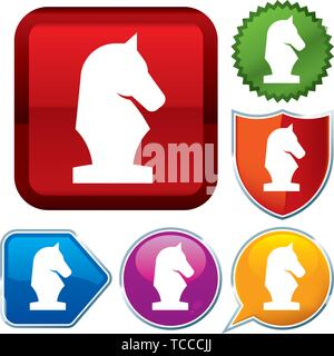 Vector illustration. Set shiny icon series on buttons. Chess. - Stock Photo
