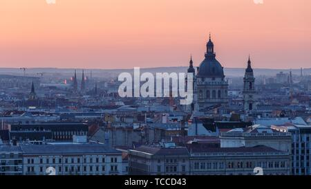 View of the St. Stephen's Basilica and city centre of Budapest from Fisherman's Bastion.. - Stock Photo