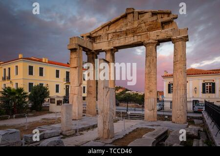 Remains of Roman Agora in the old town of Athens, Greece.. - Stock Photo