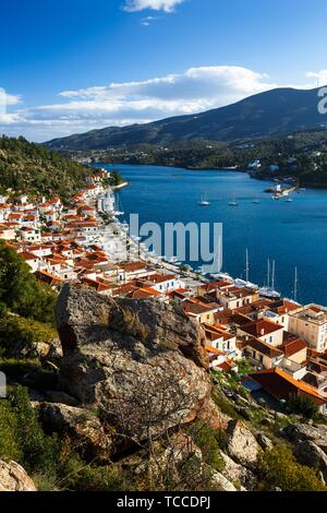 View of the Chora village of Poros island from a nearby hill, Greece.. - Stock Photo