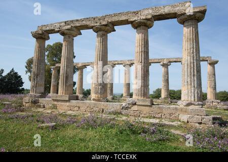 Palatine Tables, Hera Sanctuary in Metaponto, Basilicata, Italy. - Stock Photo
