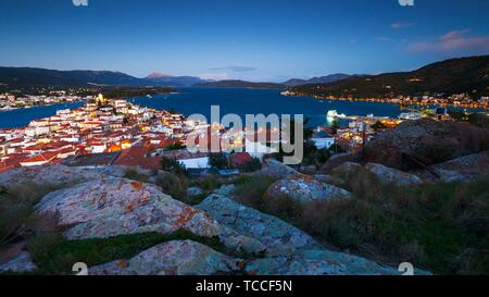 View of Poros island and Galatas village in Peloponnese, Greece.. - Stock Photo