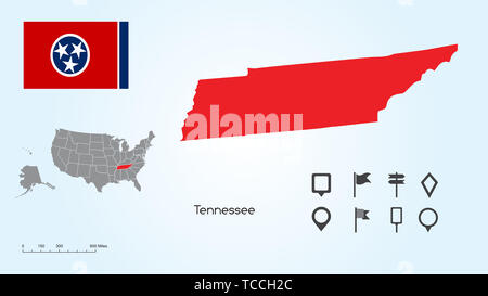 Map of The United States of America with the Selected State of Tennessee And Tennessee Flag with Locator Collection. - Stock Photo