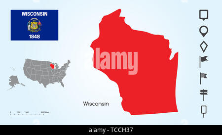 Map of The United States of America with the Selected State of Wisconsin And Wisconsin Flag with Locator Collection. - Stock Photo