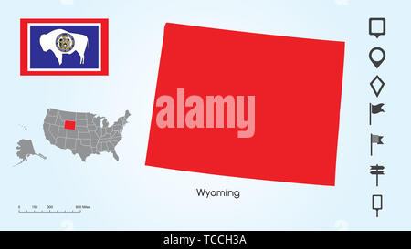 Map of The United States of America with the Selected State of Wyoming And Wyoming Flag with Locator Collection. - Stock Photo