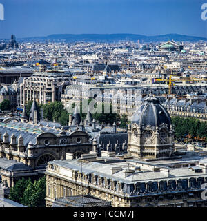 Overview of the city from Notre-Dame de Paris cathedral, Hotel Dieu hospital, Paris, France, Europe, - Stock Photo