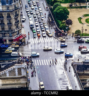 Overview of streets crossing from Notre-Dame de Paris cathedral, pedestrian crossings, cars traffic, Pont Au Double bridge, Paris, France, Europe, - Stock Photo