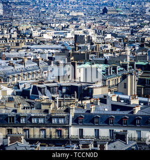 Paris, overview of city rooftops, France, Europe, - Stock Photo