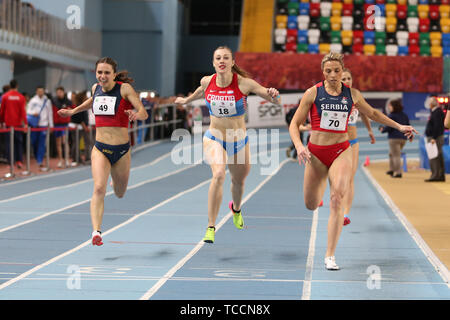 ISTANBUL, TURKEY - FEBRUARY 16, 2019: Athletes running during Balkan Athletics Indoor Championships Stock Photo