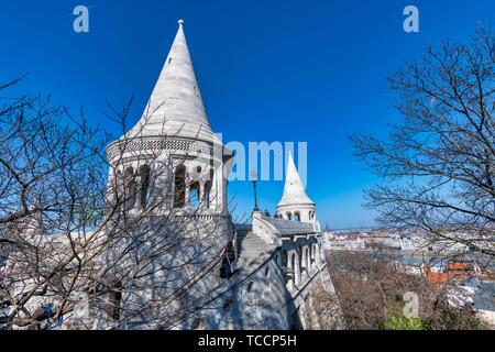 BUDAPEST - MARCH 31, 2019: Bastions of Buda Castle on a sunny day with tourists. - Stock Photo
