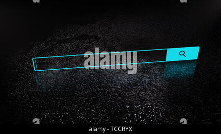 Empty simple web search bar in on the surface, decoration for internet ad, 3d render backdrop, computer generating - Stock Photo