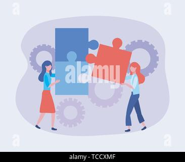 businesswomen with puzzles and gears technology information to teamwork strategy vector illustration