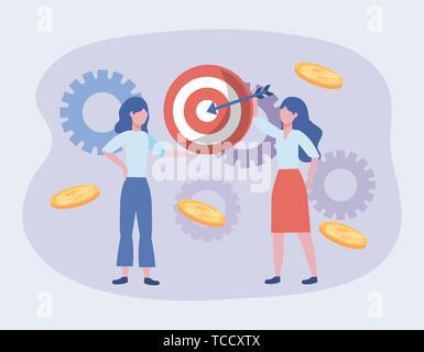 businesswomen and target with arrow and coins with gears to teamwork strategy vector illustration - Stock Photo