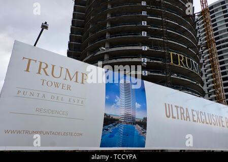 Trump Tower luxury apartment condominium being built in Punta del Este.Uruguay - Stock Photo