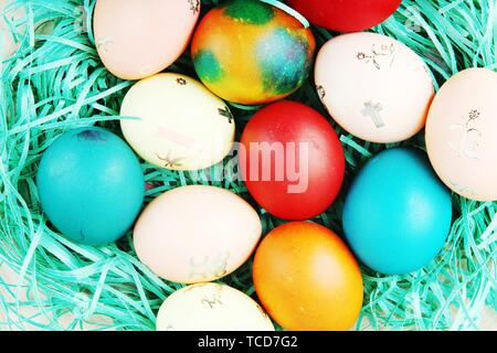 Studio Shot Of Colorful Easter Eggs. - Stock Photo