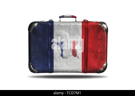 Travel Vintage Leather Suitcase With Flag Of France and French Map Isolated On White Background. - Stock Photo