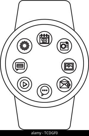 smartwatch weareable with applications menu - Stock Photo