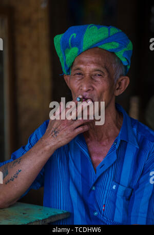 Portrait of Pao tribe man in Shan state Myanmar - Stock Photo