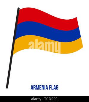 Armenia Flag Waving Vector Illustration on White Background. Armenia National Flag. - Stock Photo