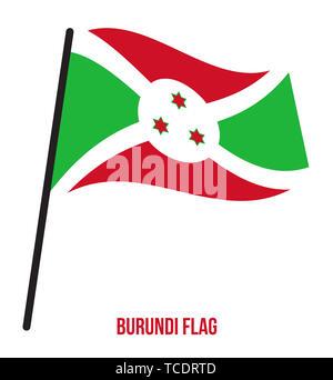 Burundi Flag Waving Vector Illustration on White Background. Burundi National Flag. - Stock Photo