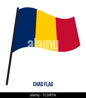 Chad Flag Waving Vector Illustration on White Background. Chad National Flag. - Stock Photo