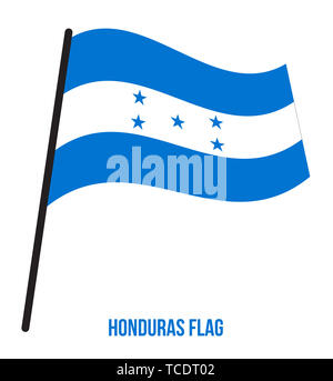 Honduras Flag Waving Vector Illustration on White Background. Honduras National Flag. - Stock Photo