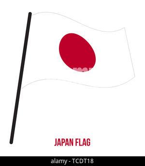 Japan Flag Waving Vector Illustration on White Background. Japan National Flag. - Stock Photo