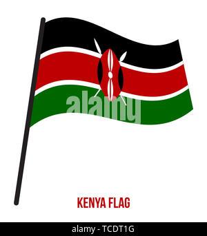 Kenya Flag Waving Vector Illustration on White Background. Kenya National Flag. - Stock Photo