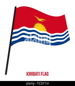 Kiribati Flag Waving Vector Illustration on White Background. Kiribati National Flag. - Stock Photo