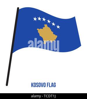 Kosovo Flag Waving Vector Illustration on White Background. Kosovo National Flag. - Stock Photo