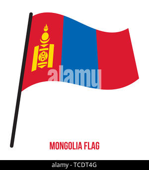 Mongolia Flag Waving Vector Illustration on White Background. Mongolia National Flag. - Stock Photo