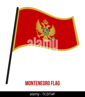 Montenegro Flag Waving Vector Illustration on White Background. Montenegro National Flag. - Stock Photo