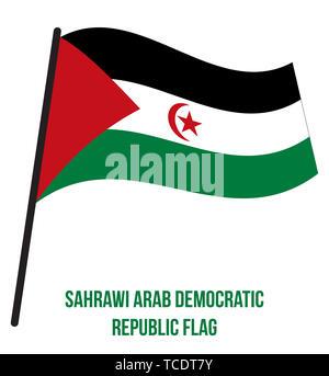 Sahrawi Arab Democratic Republic Flag Waving Vector Illustration on White Background. Sahrawi Arab Democratic Republic National Flag. - Stock Photo