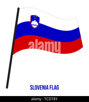 Slovenia Flag Waving Vector Illustration on White Background. Slovenia National Flag. - Stock Photo