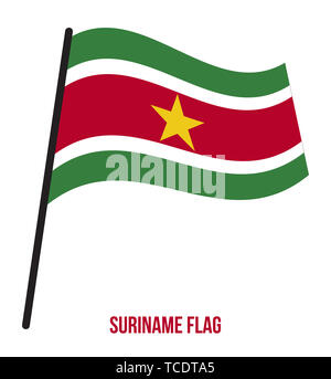 Suriname Flag Waving Vector Illustration on White Background. Suriname National Flag. - Stock Photo