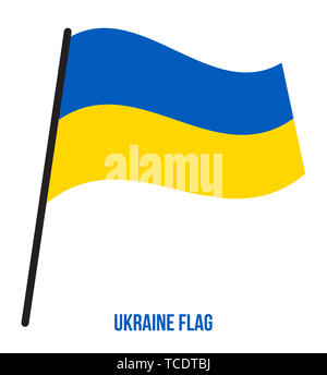 Ukraine Flag Waving Vector Illustration on White Background. Ukraine National Flag. - Stock Photo