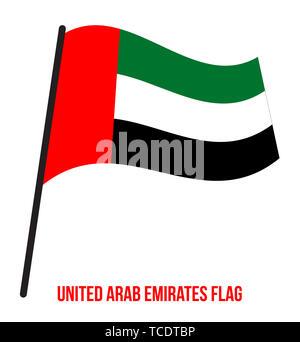 United Arab Emirates Flag Waving Vector Illustration on White Background. National Flag - Stock Photo