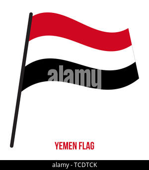 Yemen Flag Waving Vector Illustration on White Background. Yemen National Flag. - Stock Photo