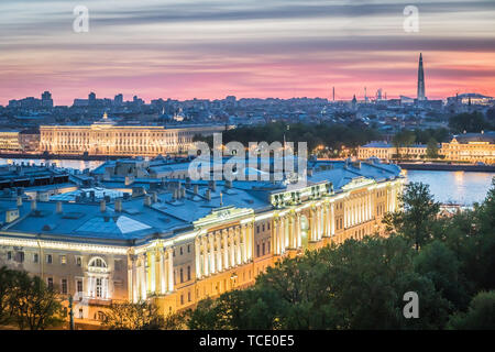 St.Petersburg, Russia - May 16, 2019 - night aerial view of Constitutional Court of Russian Federation - Stock Photo